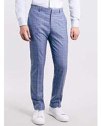 Topman blue checked skinny suit pants medium 52006
