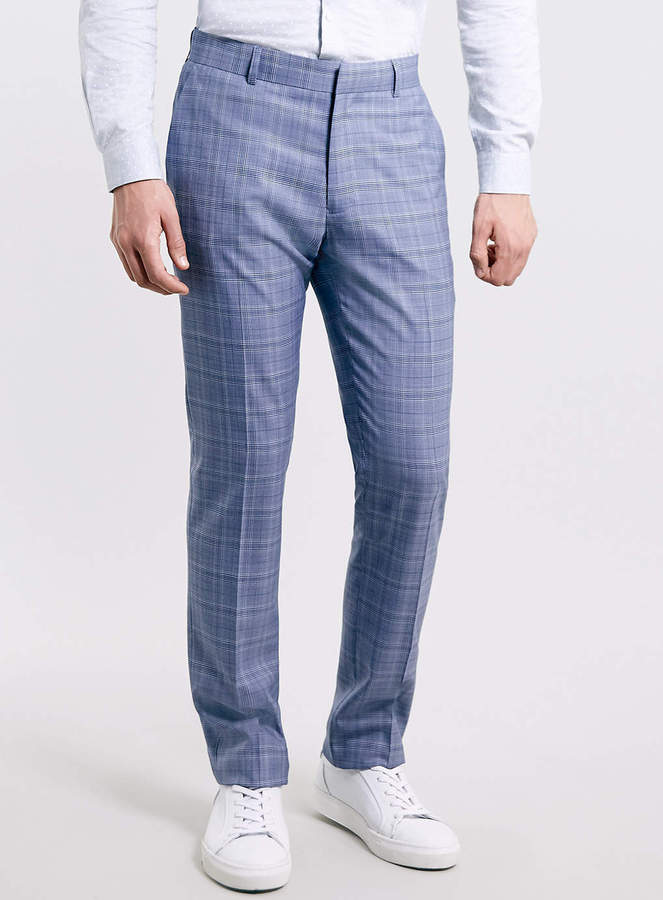 Topman Blue Checked Skinny Suit Pants | Where to buy & how to wear
