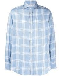Brunello Cucinelli Classic Linen Blend Checked Shirt