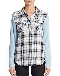 Rue plaid front chambray shirt medium 347521