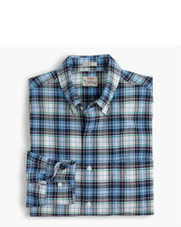 J.Crew Slim American Pima Cotton Oxford Shirt In Blue Plaid
