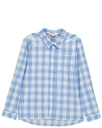 Light Blue Plaid Long Sleeve Shirt