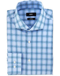 ... Hugo Boss Boss Slim Fit Easy Iron Majoica Windowpane Plaid Dress Shirt  Blue