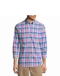 St. John's Bay Long Sleeve Slim Fit Plaid Button Front Shirt