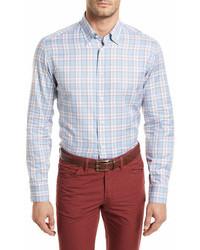 Brioni Plaid Long Sleeve Shirt Light Blue
