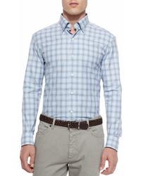 Ermenegildo Zegna Plaid Long Sleeve Sport Shirt Blue