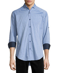 Bogosse Plaid Long Sleeve Sport Shirt Blue Pattern