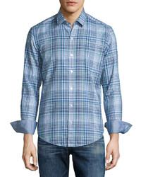 Hugo Boss Plaid Long Sleeve Sport Shirt Turquoise