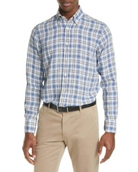 Canali Regular Fit Plaid Linen Button Up Shirt