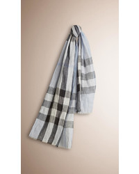 Burberry Check Crinkled Linen Scarf