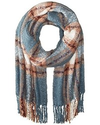La Fiorentina Oversized Plush Plaid Scarf With Fringe