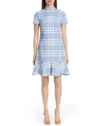 Oscar de la Renta Checkered Ruffle Hem Stretch Wool Dress
