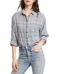 Free People Cutie Plaid Button Down Shirt