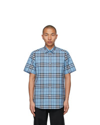 Burberry Blue Poplin Check Short Sleeve Shirt