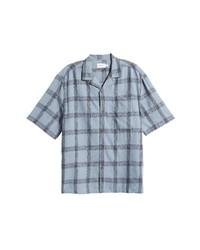 Topman Boxy Check Short Sleeve Button Up Camp Shirt