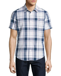 Original Penguin Short Sleeve Plaid Shirt Blue