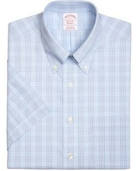 Brooks Brothers Supima Cotton Non Iron Traditional Fit Tonal Glen Plaid Short Sleeve Dress Shirt