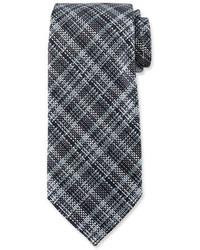 Tom Ford Textured Plaid Silk Tie Blue
