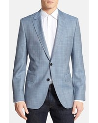 Light Blue Plaid Wool Blazer