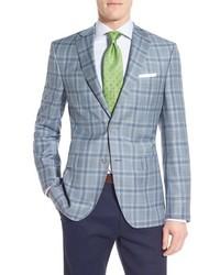 David Donahue Classic Fit Plaid Wool Sport Coat
