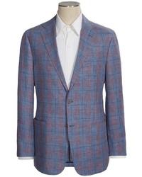 Hickey Freeman Glen Plaid Sport Coat Linen Wool