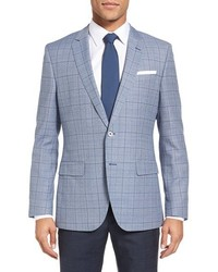 BOSS Hutsons Trim Fit Plaid Wool Cotton Sport Coat