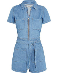 Madewell Cotton And Linen Blend Playsuit Blue