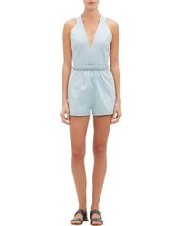 Valentino Denim Cross Back Romper Blue