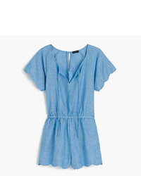 J.Crew Scalloped Cotton Linen Romper