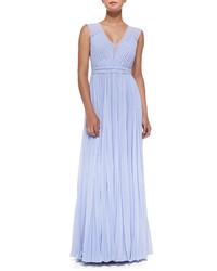 Light Blue Pleated Evening Dress