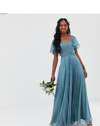 Asos Tall Asos Design Tall Bridesmaid Maxi Dress With Flutter Sleeve