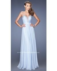 La Femme Sheer Illusion Deep V Pleated Bodice Prom Dress