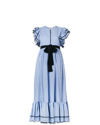 MSGM Striped Ruffle Trim Dress