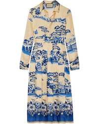Gucci Pleated Printed Silk Twill Midi Dress Blue