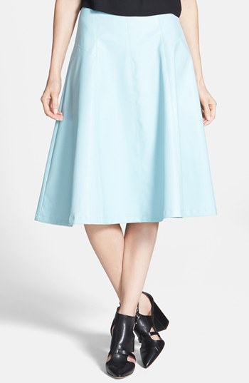 ASTR Faux Leather A Line Midi Skirt Powder Blue Medium | Where to ...