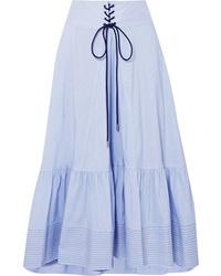 3.1 Phillip Lim Lace Up Striped Cotton Blend Poplin Midi Skirt