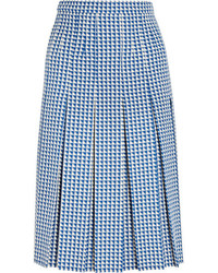 Gucci Pleated Houndstooth Wool Blend Skirt Blue