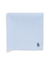 Original Penguin Lee Mini Check Cotton Pocket Square Light Blue One Size