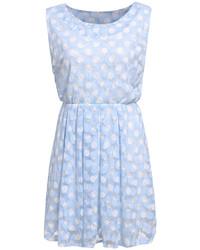 Sleeveless polka dot pleated dress medium 213037