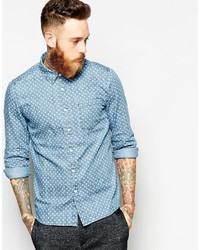 937dd82b835 ... Asos Brand Denim Shirt In Long Sleeve With Polka Dots