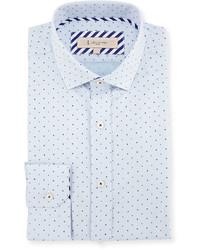 1 Like No Other Textured Dot Print Dress Shirt Blue