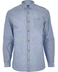 River Island Blue Chambray Polka Dot Shirt