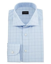 Ermenegildo Zegna Dotted Box Check Dress Shirt Light Blue
