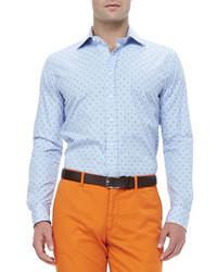Etro Textured Striped Dot Embroidered Shirt Light Blue