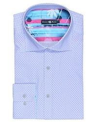 Stone Rose Sky Blue Polka Dot Button Down Shirt