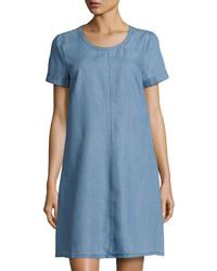 Pin dot short sleeve shift dress blue medium 1155007