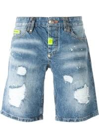 Philipp Plein Dotted Denim Shorts