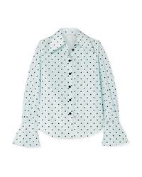 Marc Jacobs Polka Dot Flocked Silk Taffeta Shirt