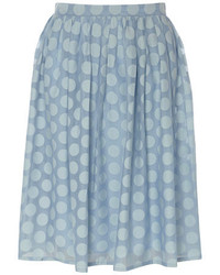 Izabel London Light Blue Layered Dot Skirt