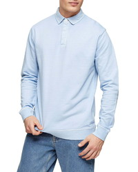 Topman Washed Rugby Classic Fit Polo Sweatshirt